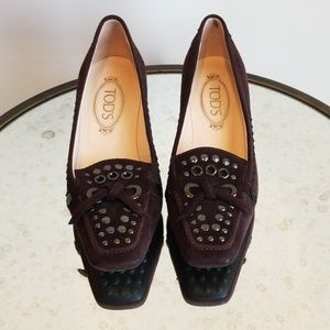 "TOD'S Brown Suede 1"" Pumps size 7.5"